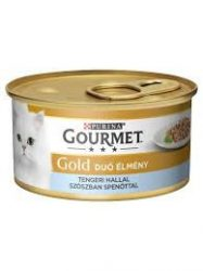 Bolti átvételre rendelhető :Gourmet Gold  tengeri hallal szószban spenóttal csirkével 85g